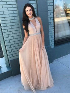 Charming A Line Halter V Neck Tulle Champagne Lace Long Prom Dresses with Beading, Elegant Evening Dresses