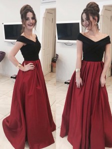 Charming Ball Gown V Neck Open Back Burgundy Long Prom Dresses with Pockets, Elegant Evening Dresses PD0905001