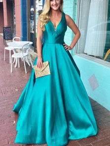 Gorgeous Ball Gown V Neck Open Back Turquoise Long Prom Dresses with Pockets, Elegant Evening Party Dresses PD0905002