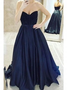 Charming Ball Gown Sweetheart Open Back Navy Satin Long Prom Dresses with Beading, Formal Evening Dresses