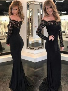 Charming Mermaid Off the Shoulder Long Sleeves Black Lace Long Prom Dresses, Elegant Evening Dresses PD0905006