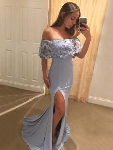Charming Mermaid Off the Shoulder Open Back Grey Lace Long Prom Dresses, Elegant Evening Dresses