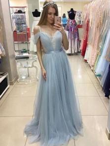 Fairy A Line Off the Shoulder Light Blue Long Prom Dresses with Lace, Elegant Evening Dresses