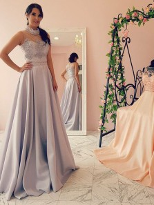Gorgeous Ball Gown Halter Open Back Grey Lace Long Prom Dresses with Beading, Elegant Evening Dresses