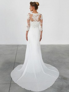 Charming Sheath Round Neck Half Sleeves White Lace Wedding Dresses with Court Train