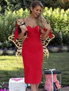 Cute Sheath Sweetheart Bodycon Red Knee Length Prom Dresses with Bow, Pretty Short Homecoming Dresses Under 100 HD0905001