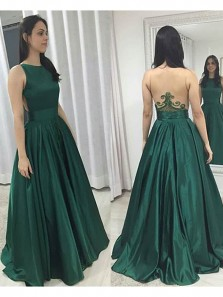 Gorgeous Ball Gown Scoop Backless Green Satin Long Prom Dresses with Beading, Unique Evening Dresses
