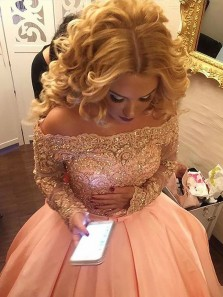 Gorgeous Ball Gown Off the Shoulder Long Sleeves Pink Lace Long Prom Dresses with Beading, Elegant Quinceanera Dresses