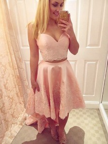 Cute Two Piece Sweetheart Peach Satin Lace High Low Homecoming Dresses, Beautiful Prom Dresses