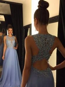 Gorgeous A Line Round Neck Open Back Lavender Lace Long Prom Dresses with Appliques, Elegant Evening Dresses