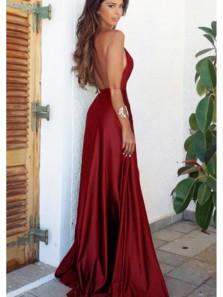 Charming A Line V Neck Backless Satin Split Burgundy Long Prom Dresses Under 100, Sexy Evening Party Dresses