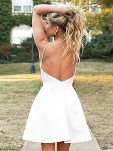Simple A Line Square Neck Backless Spaghetti Straps White Short Homecoming Dresses Under 100, Cute Short Prom Dresses HD0907001