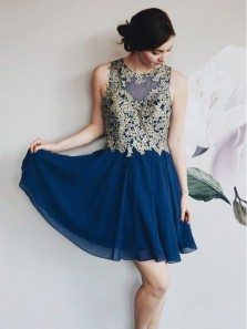 Cute A Line Round Neck Navy Blue Chiffon Gold Lace Short Homecoming Dresses, Pretty Short Party Dresses