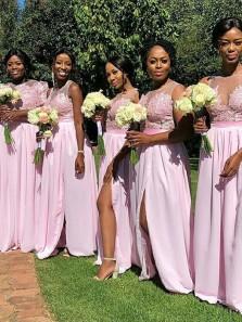 Charming Sheath Round Neck Split Pink Lace Long Bridesmaid Dresses