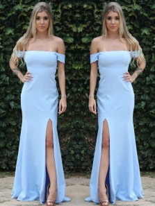 Charming Mermaid Off the Shoulder Split Light Blue Long Prom Dresses Under 100, Simple Evening Party Dresses