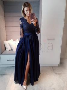 Elegant A Line V Neck Open Back Long Sleeves Split Navy Lace Long Prom Dresses, Elegant Evening Dresses