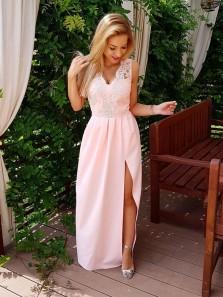 Charming Sheath V Neck Split Pink Lace Long Prom Dresses, Simple Evening Party Dresses