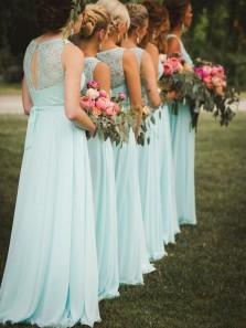 Elegant A Line Round Neck Mint Chiffon & Lace Long Bridesmaid Dresses BD0907002