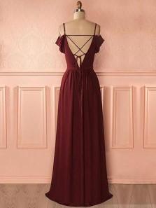 Elegant A Line V Neck Backless Burgundy Lace Long Prom Dresses, Formal Evening Dresses