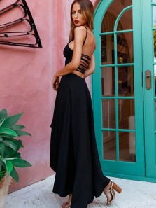 Charming A Line Round Neck Cross Back Black High Low Prom Dresses Under 100, Evening Party Dresses