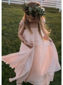 Fairy A Line Spaghetti Straps Falbala Chiffon Pink Flower Girl Dresses Under 100