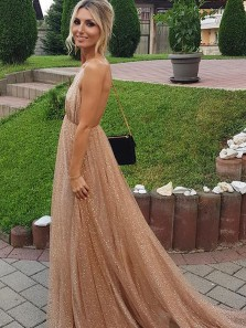 Gorgeous A Line V Neck Backless Gold Long Prom Dresses, Sparkly Evening Party Dresses PD0908012