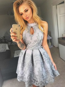 Charming A Line Halter Jewellery Keyhole Grey Lace Short Homecoming Dresses, Pretty Short Party Dresses