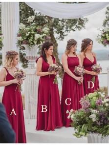 Elegant A Line V Neck Dark Red Chiffon Long Bridesmaid Dresses Under 100 BD0908006