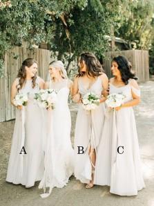 Gorgeous Fairy A Line Off the Shoulder Light Grey Long Bridesmaid Dresses Under 100