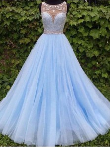 Elegant Ball Gown Scoop Open Back Light Blue Long Prom Dresses with Beading, Quinceanera Dresses PD0908001