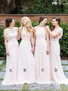 Simple Sheath V Neck Chiffon Peal Pink Long Bridesmaid Dresses with Lace