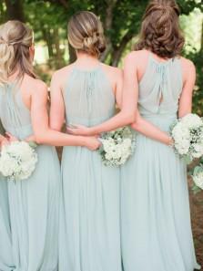 Sheath Round Neck Open Back Mint Long Bridesmaid Dresses Under 100 BD0908002