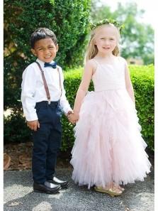 Fariy Cute Sweetheart Peal Pink Tiered Flower Girl Dresses Under 100