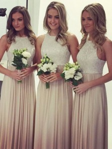 Sheath Round Neck Champagne Chiffon & Lace Long Bridesmaid Dresses