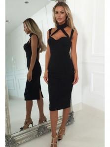 Sexy Bodycon Halter Backless Black Knee Length Homecoming Dresses Under 100, Little Black Dresses