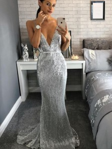 Gorgeous Mermaid V Neck Backless Silvery Sequins Long Prom Dresses with Train, Elegant Evening Dresses PD0908006