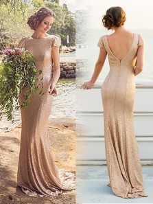 Elegant Mermaid Scoop Open Back Cap Sleeves Champagne Sequin Long Bridesmaid Dresses BD0908003