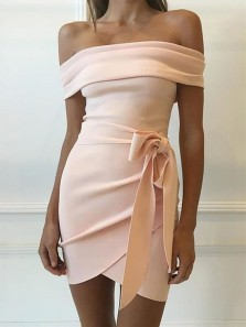 Bodycon Off the Shoulder Peach Short Homecoming Dresses, Short Prom Dresses