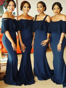 Elegant Mermaid Off the Shoulder Navy Lace Long Bridesmaid Dresses