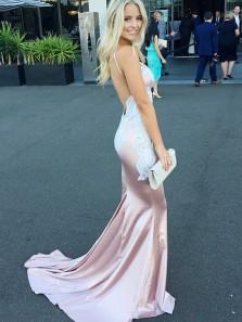 Mermaid V Neck Spaghetti Straps Backless Pink Lace Long Prom Dresses with Train, Elegant Evening Dresses