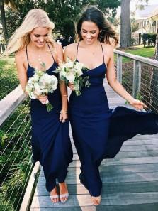 Sheath V Neck Spaghetti Straps Navy Chiffon Long Bridesmaid Dresses Under 100 BD0908005