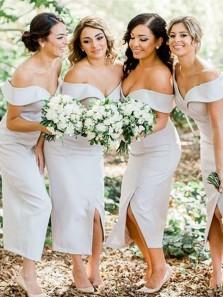 Sheath Off the Shoulder Grey Ankle Length Bridesmaid Dresses Under 100