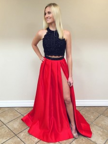 Elegant Ball Gown Two Piece Round Neck Split Black & Red Lace Long Prom Dresses with Beading, Formal Evening Dresses PD0909001