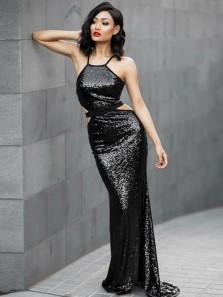 Charming Mermaid Halter Cross Back Sequins Black Long Prom Dresses, Elegant Evening Dresses