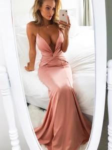 Sexy Mermaid V Neck Spaghetti Straps Elastic Cross Back Long Prom Dresses, Charming Evening Dresses