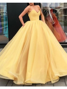 Gorgeous Ball Gown V Neck Satin Yellow Long Prom Dresses, Elegant Evening Dresses PD0909004