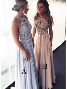 Gorgeous A Line Round Neck Light Blue /Blush Beaded Long Prom Dresses, Elegant Evening Dresses PD0909005