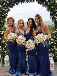 Gorgeous Mermaid V Neck Cross Back Navy Satin Long Bridesmaid Dresses