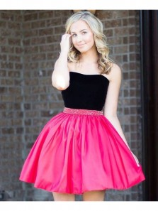 Cute A Line Sweetheart Black Satin Rose Red Short Homecoming Dresses with Beading, Short Prom Dresses