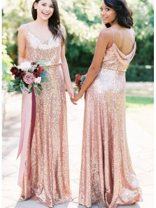 Sheath V Neck Open Back Pink Gold Sequins Long Bridesmaid Dresses